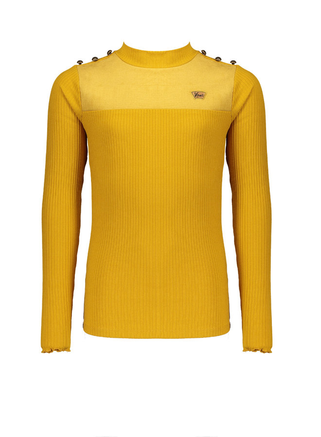Kolet - Rib Turtle Neck Tshirt With Fancy Buttons At Shoulder