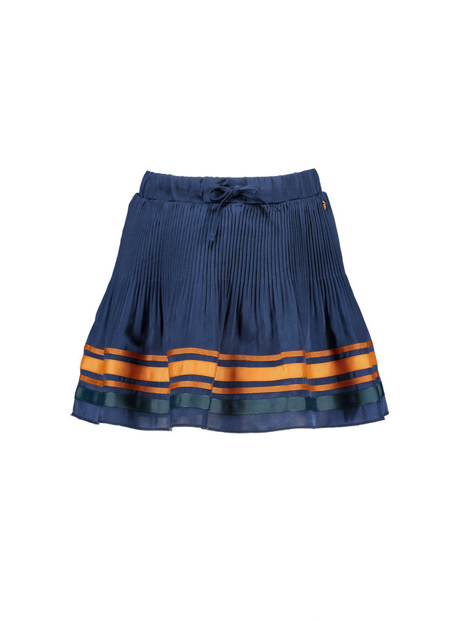 Nulan solid plissee skirt with multicolortapes at hem