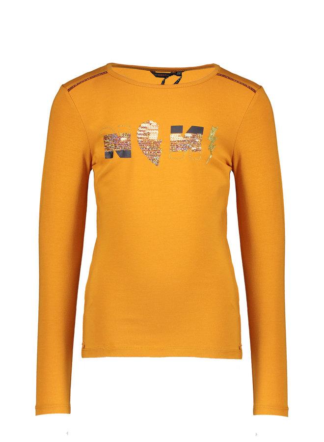 KuaB tshirt l/sl NONO artwork with piping at sleeves