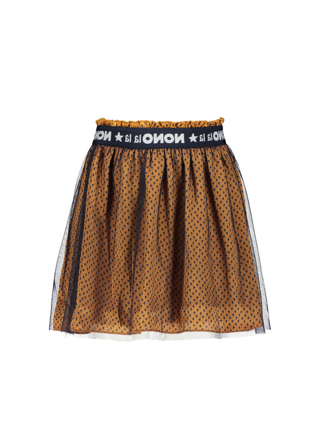 Nola short triangle AOP skirt with mesh layer