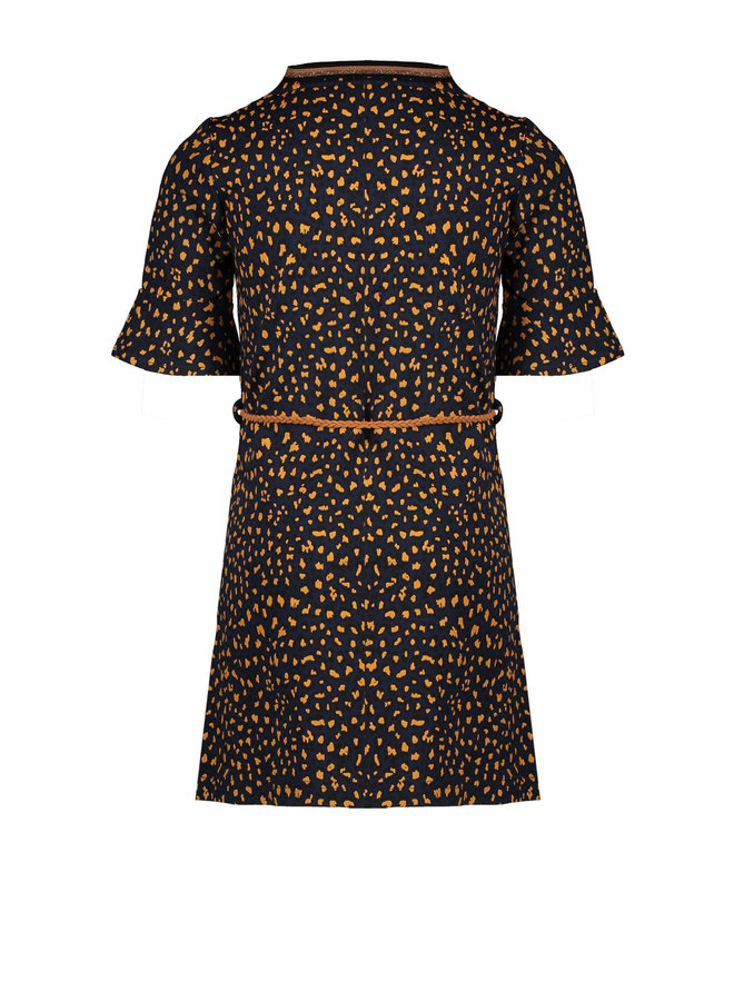 Meta Dress with flared 1/2 sleeves AOP + braided belt