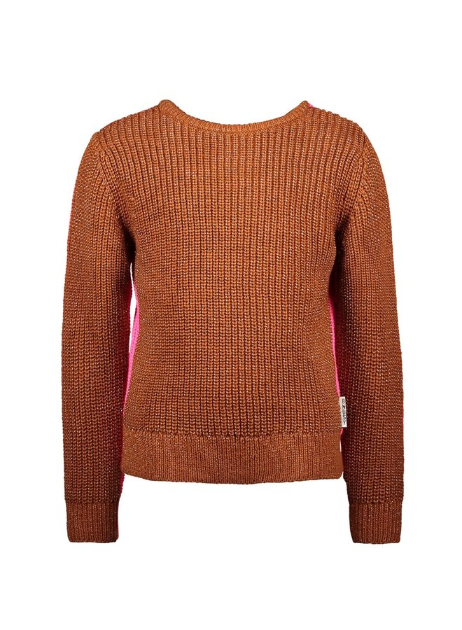 Girls - Heavy Knitted pullover with lurex - Pink Glo