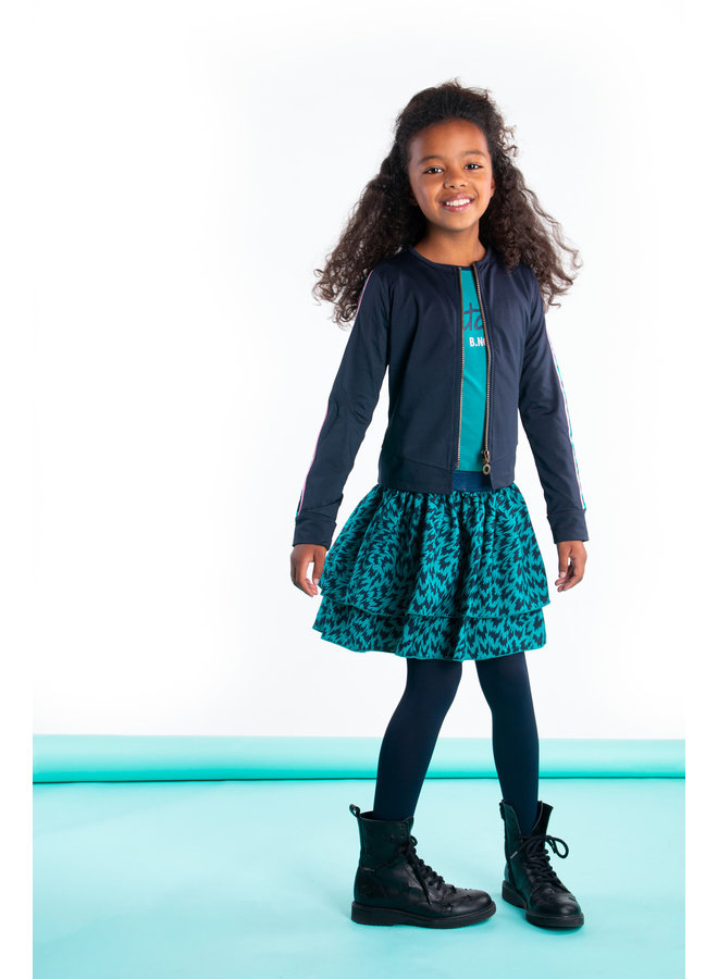 Girls - Cardigan with zipper and tape on sleeves - Oxford Blue