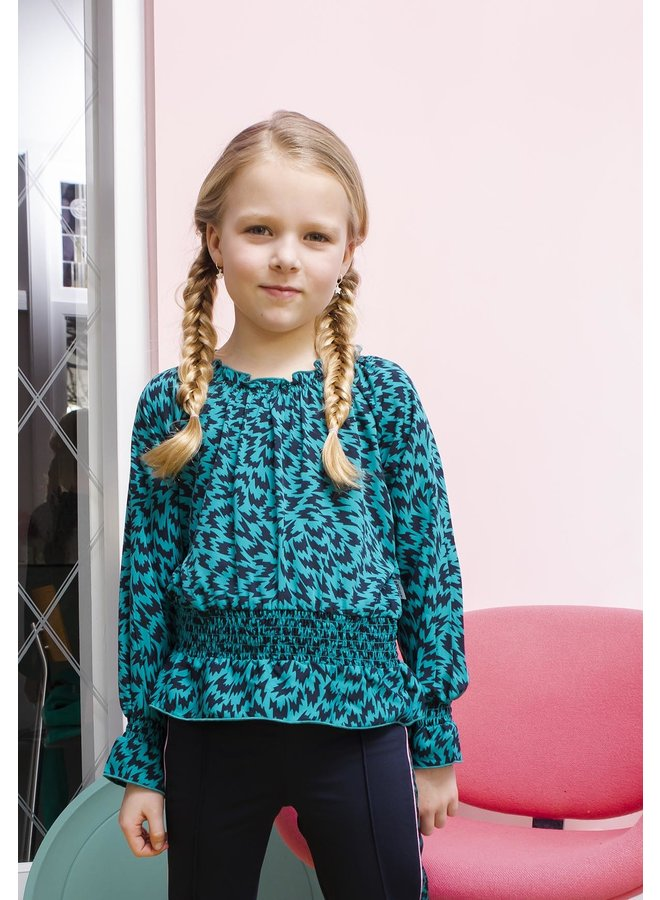 Girls - Flame AOP blouse with smocked waist - Fanfaire Flame
