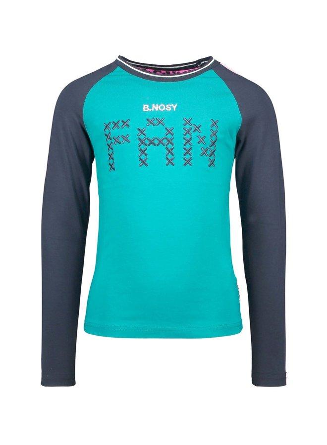 Girls - Raglan t-shirt with fancy tape on sleeves - Fanfare