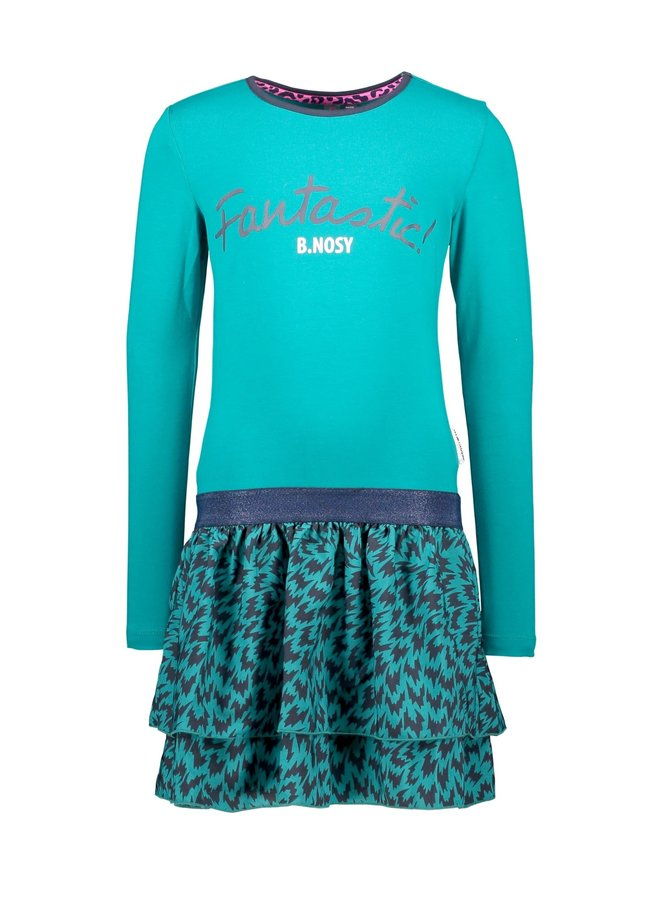 Girls - Dress with woven flame AOP skirt - Fanfare Flame
