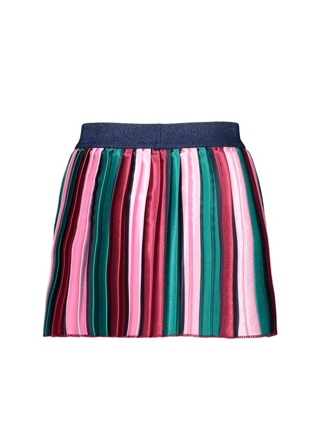 Girls - Satin pleated skirt with vertical stripes - Fancy Stripe