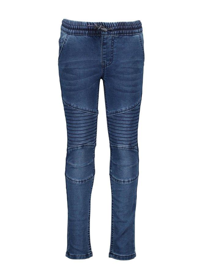 Boys - jog denim pants with smocked wb - Dark Blue Denim
