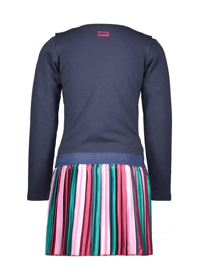 Girls - Dress with vertical striped satin skirt en zipperclosure - Oxford Blue