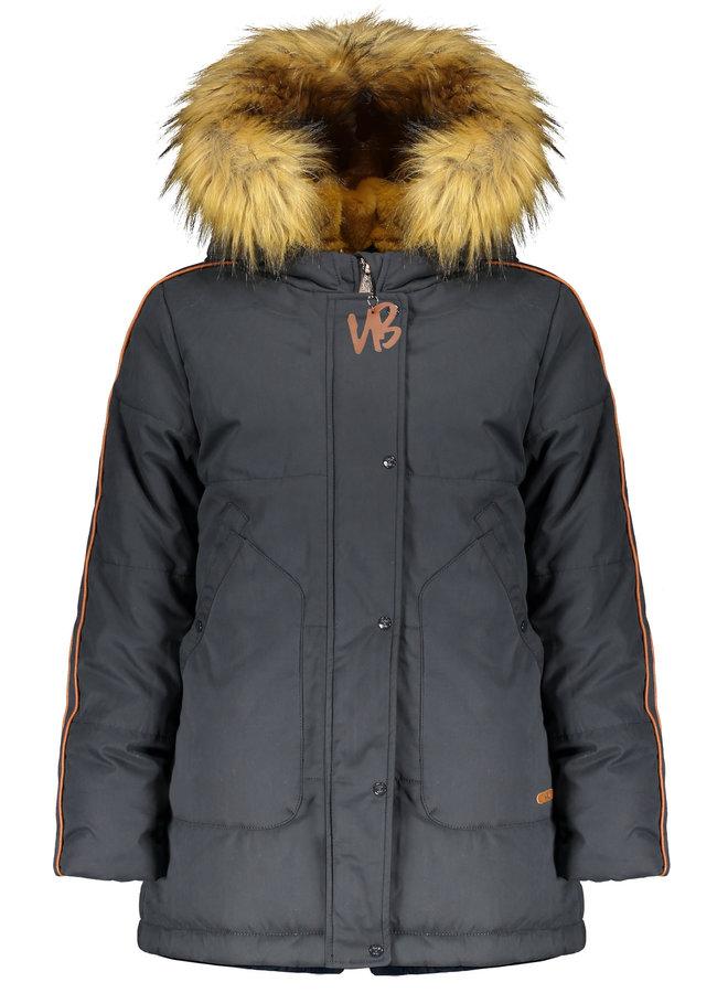 Body Long Parka with detachable fur along hood - Grey Navy