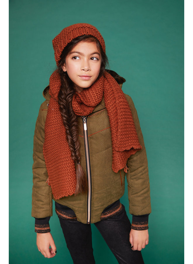 Raya Knitted hat + scarf set - Leather Brown