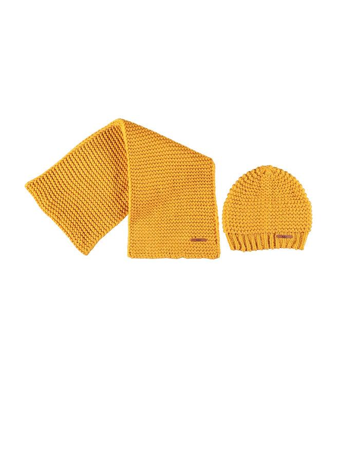 Raya Knitted hat + scarf set - Yellow Gold