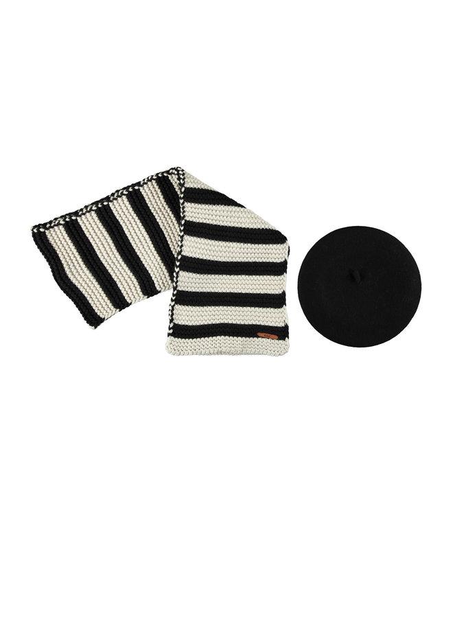 Romy striped scarf + baret
