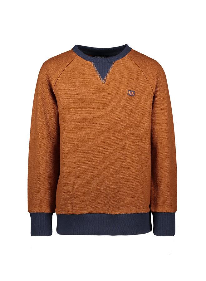 Stanley - Raglan Contrastsleeve Sweater - Horse Brown