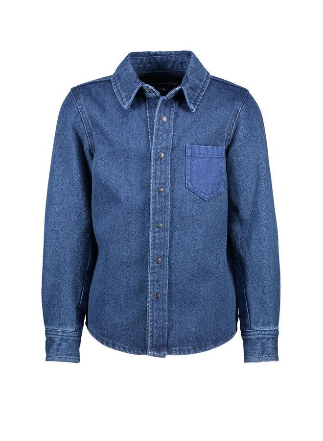 Henky - Longsleeve shirt met contrast patches - Denim Blue