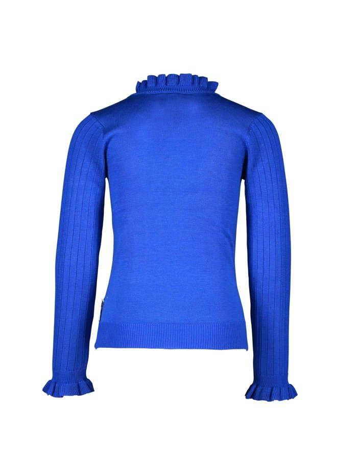 Girls - Knitted pullover with V-shaped ruffle - Cobalt Blue