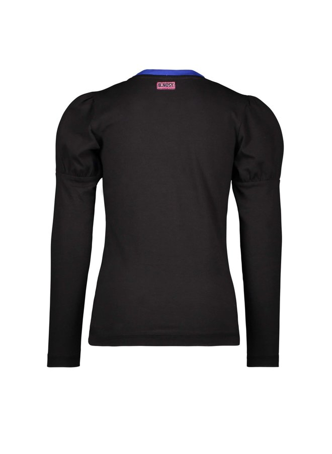 Girls - T-shirt with puffed sleeves and chest artwork - Black