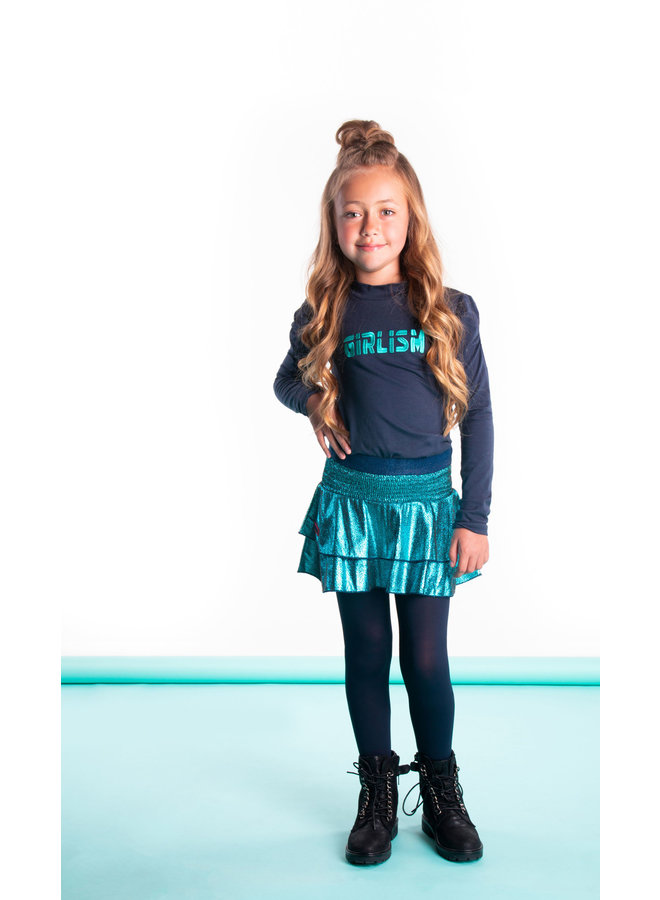 Girls - Shirt witch coll and puffed sleeves - Oxford Blue