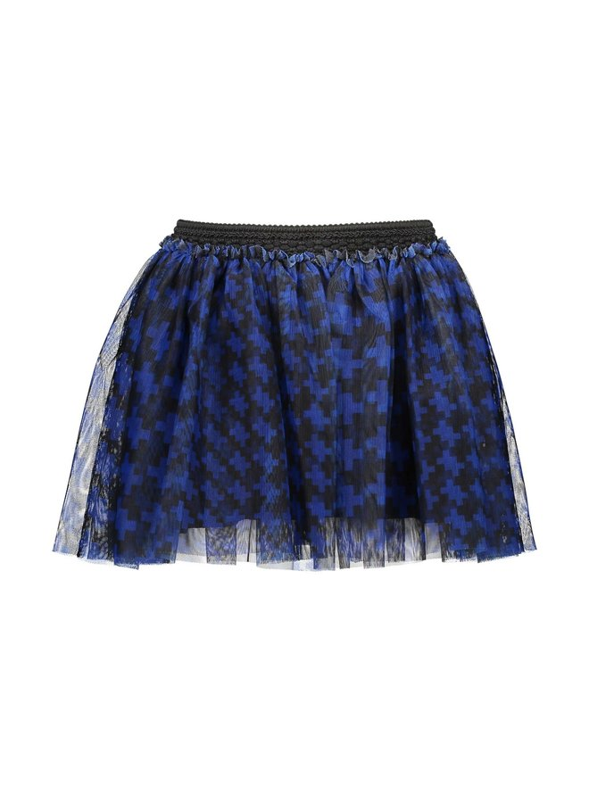 Girls - Mesh skirt with pied du poule AOP - Maxi Cobalt Puzzle
