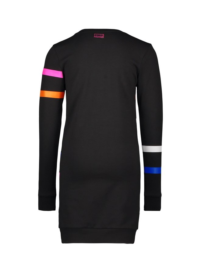 Girls - Sweat dress with printed stripes on body and sleeves - Black