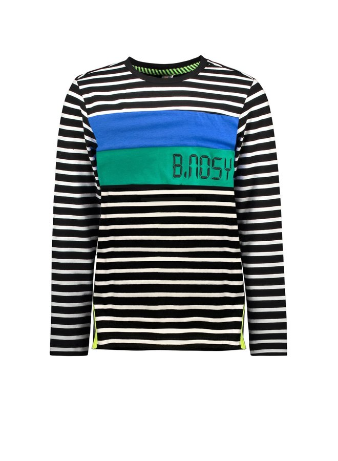 Boys - YDS t-shirt with vertical cut and sew panels - BW Fast Stripe