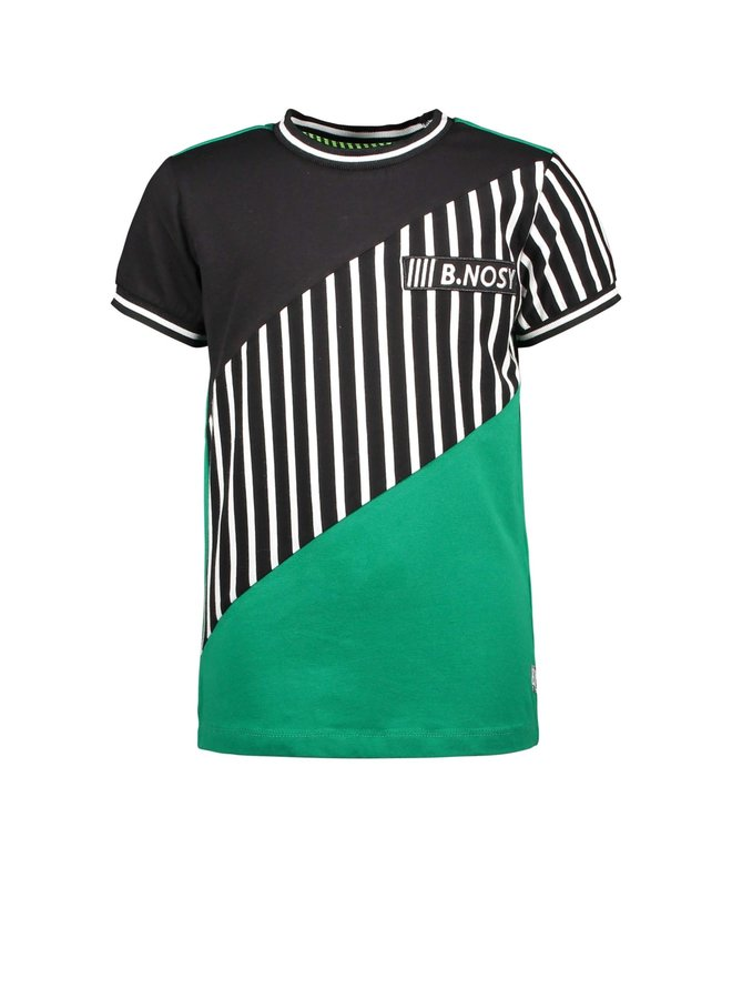 Boys - Short sleeve t-shirt with slanted cut and sew panels - Jade Green