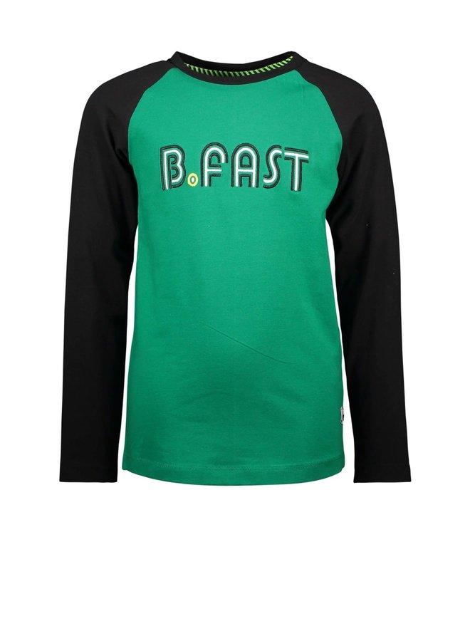Boys - Raglan shirt with embroidery - Jade Green