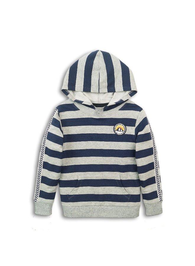Sweater With Hood - Grey Melange & Navy
