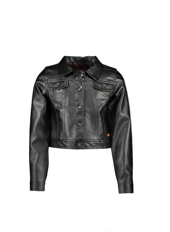 Denim Fake Leater Cardigan - Jet Black