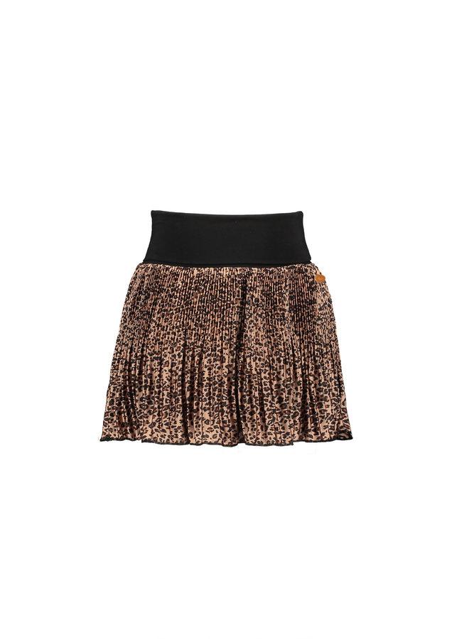 Naly Half Pleated Short Skirt With Folded Jersey Waistband - Animal