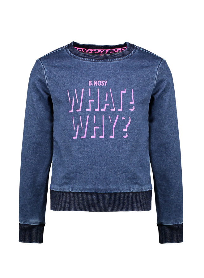 Girls - Denim Sweater With Artwork On Chest - Dark Blue Denim