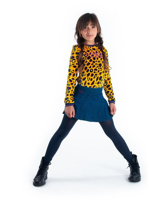 Girls - Pleated Denim Skirt - Dark Blue Denim