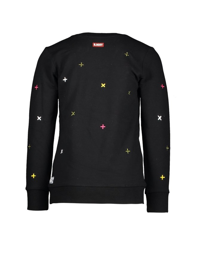 Boys - Sweater With Embroidered Crosses - Black