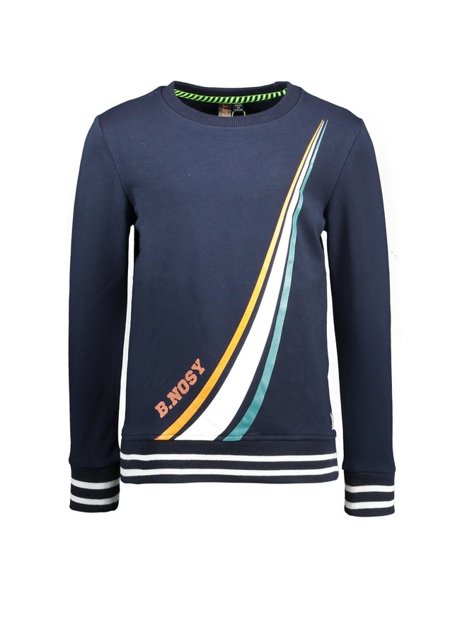 Boys - Sweater With Colored Stripe Print - Oxford Blue