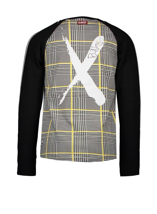 Boys - Extra Long Raglan T-shirt With Cross AOP Body - Hero Check White