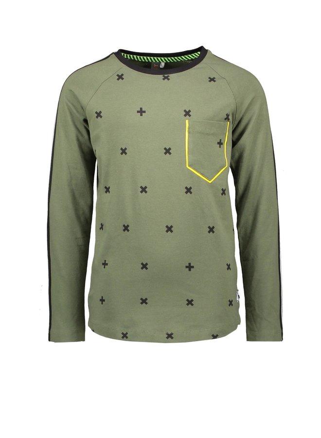 Boys - Extra Long Raglan T-shirt With Cross AOP Body - Cross Army