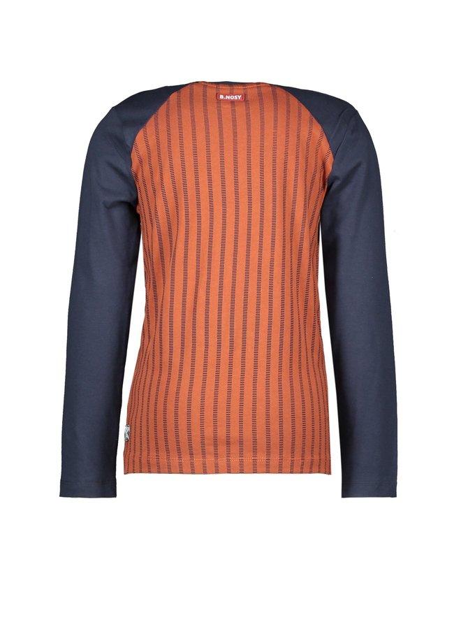 Boys - Fake Raglan Shirt With AO - Baseball Cognac