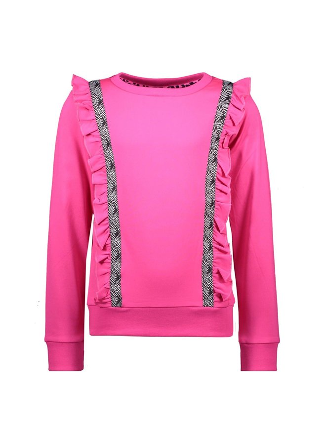 Girls - Sweater with vertical ruffles and contrast zebra tape - Pink Glo