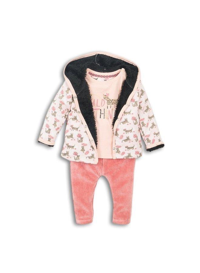 3 pce Babysuit - Faded Peach & Dark Old Pink
