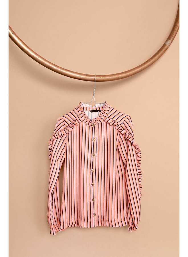 Tikky Blouse With Ruffles On Sleeve And Shoulder In AOP Stripe - Lychee