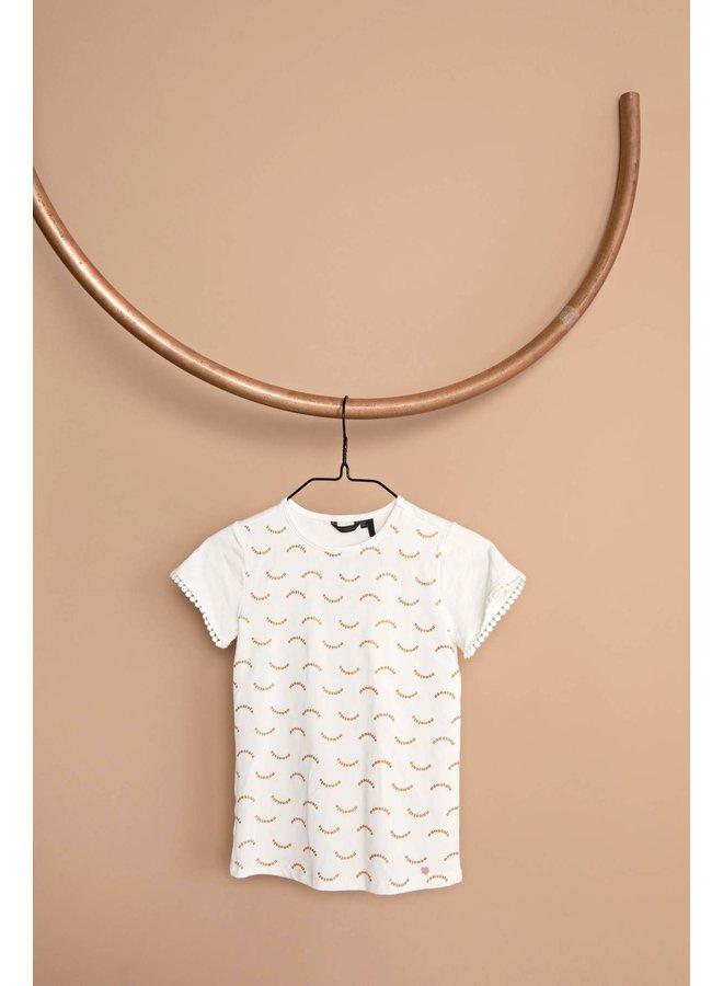 Kathy T-shirt s/sl Winking Bows Print, Scaloped Edged Sleeves - Snow White