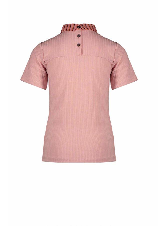 Karlis Rib T-shirt 1/2 sl With Woven Collar And Bow - Lychee