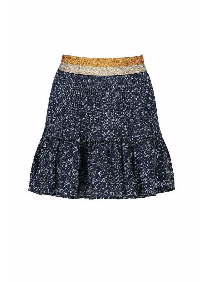 Nulan Pleated Skirt AOP Dots On Satin With Gold Lurex Waistband - Navy Blazer