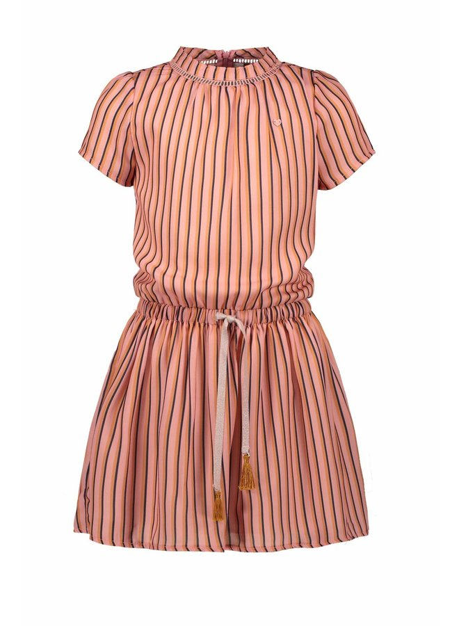 Mirthe Dress S/SL With Crochettape At Neck In AOP Stripe - Lychee