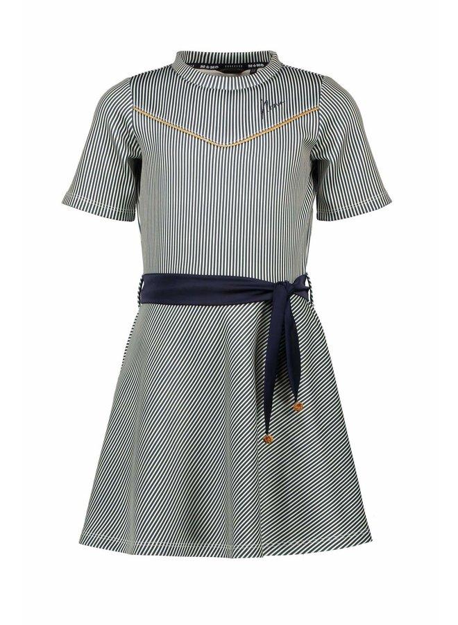 Mey Dress S/SL AOP Stripe With Satin Belt - Navy Blazer