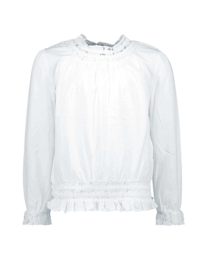 Girls White Blouse With lace Tape - Snow White