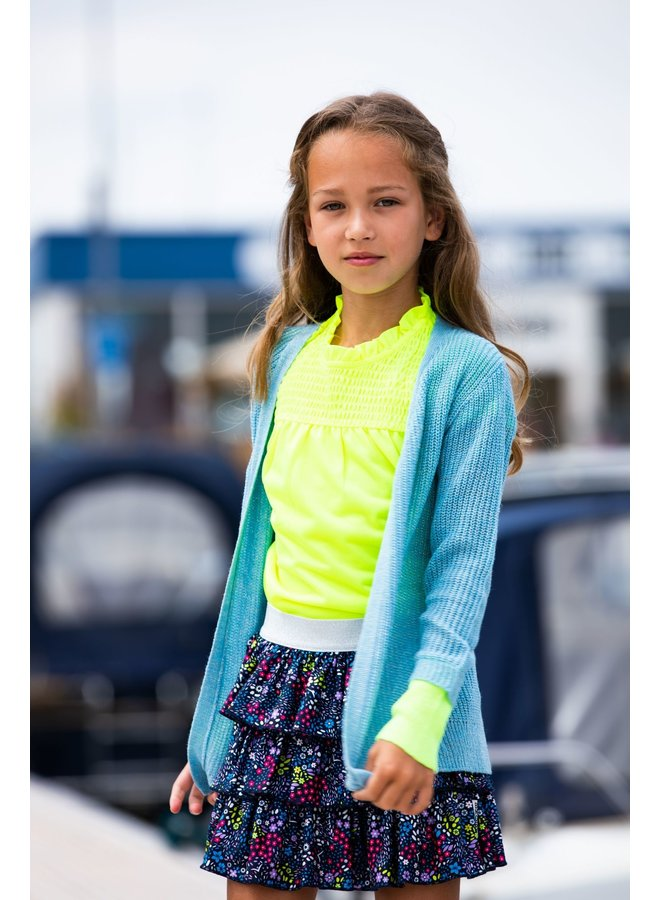 Girls SS Polyester Top With Smock Part
