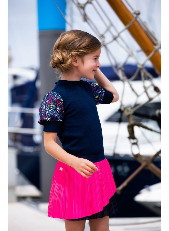 Girls SS Shirt With Rib Body + Puff Sleeves - Space Blue
