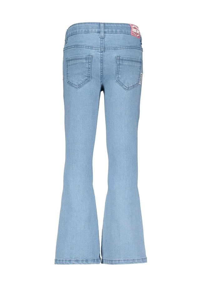 Girls Denim Flair Pants Ruffles At Front Pockets - Free Denim