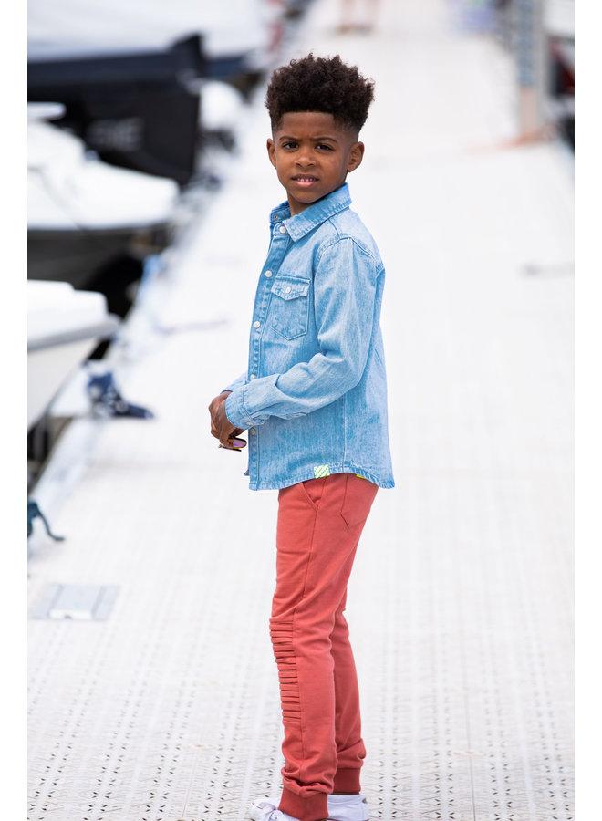 Boys Denim Blouse With Press Buttons - Free Denim